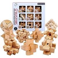 Polai 9 Stück Knobelspiele Adventskalender 3D Puzzle Holz Knifflige Spiele