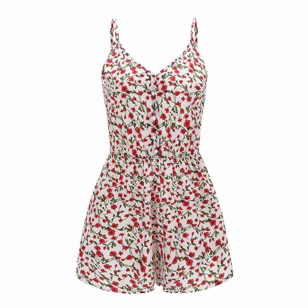 HucodeVan Femme Combinaison sans Manches /à imprim/é Floral Mode Playsuit Col V Bustier Dos Nu Taille Haute Party Plage Boh/ême Mini Camisole Combishort