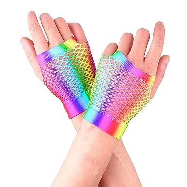 Tiaobug Damen Kurze Fingerlose Handschuhe Armstulpen Regenbogen Bunt Farbe Netzhandschuhe Party Fasching Karneval 80er Jahre Kostüme Zubehör