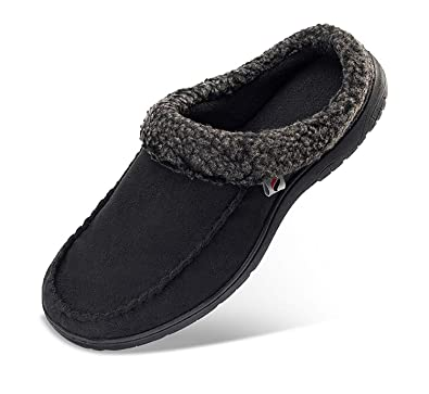 3504e7513312 PromArder Men s House Slippers Comfortable House Slippers Anti-Slip Indoor  Outdoor for Winter Black