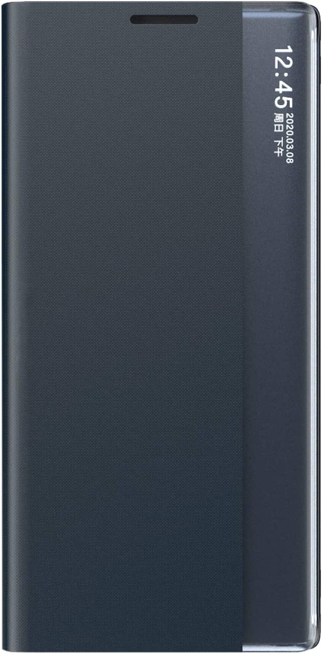 TOPOFU Flip Cuero Funda para Samsung Galaxy A12 Cáscara, Ultra Delgado Inteligente Funda [360° Protection] [Soporte Plegable] [Anti-Scratch] Flip Case Cover - Gris Azul
