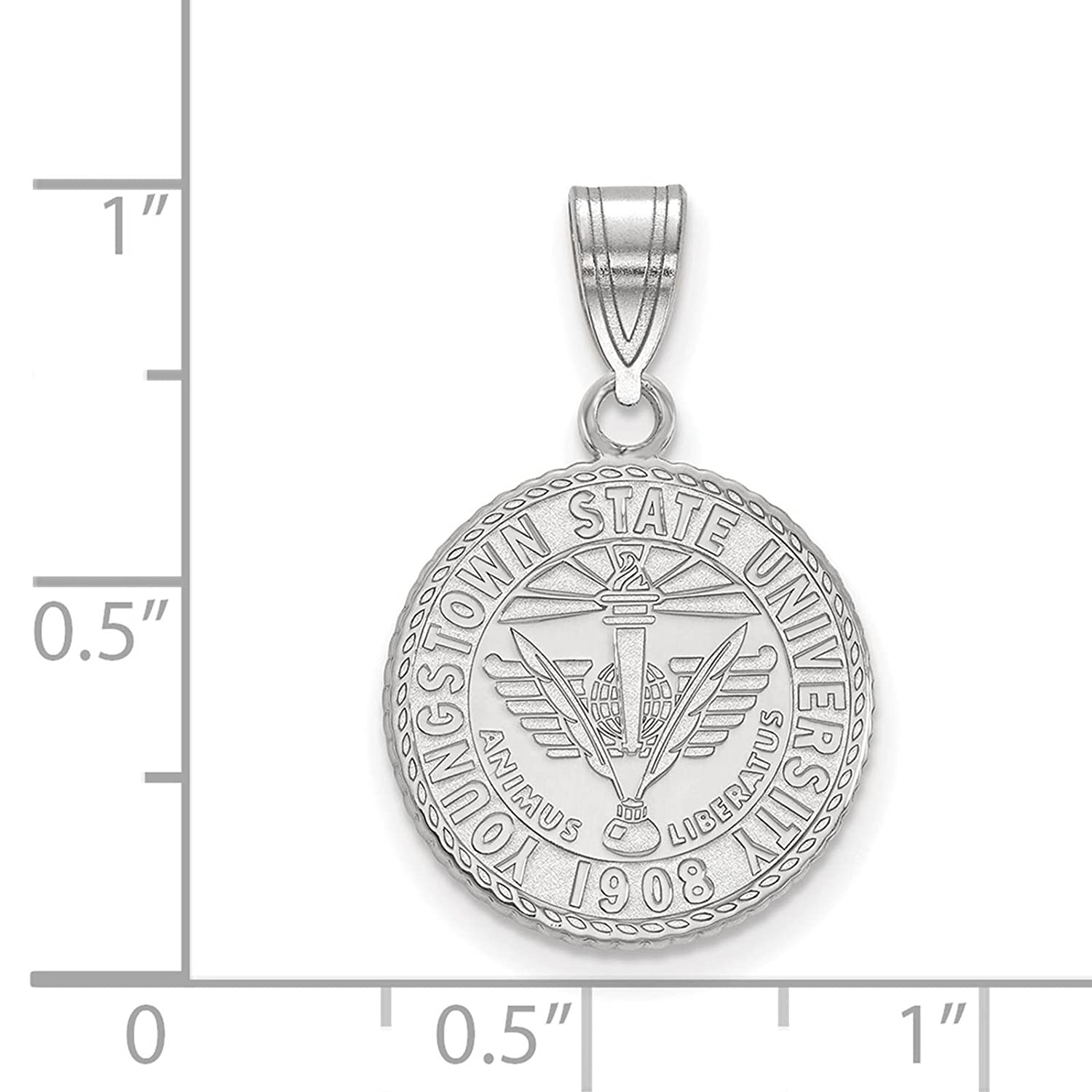 925 Sterling Silver Rhodium-plated Laser-cut Youngstown State University Medium Crest Pendant