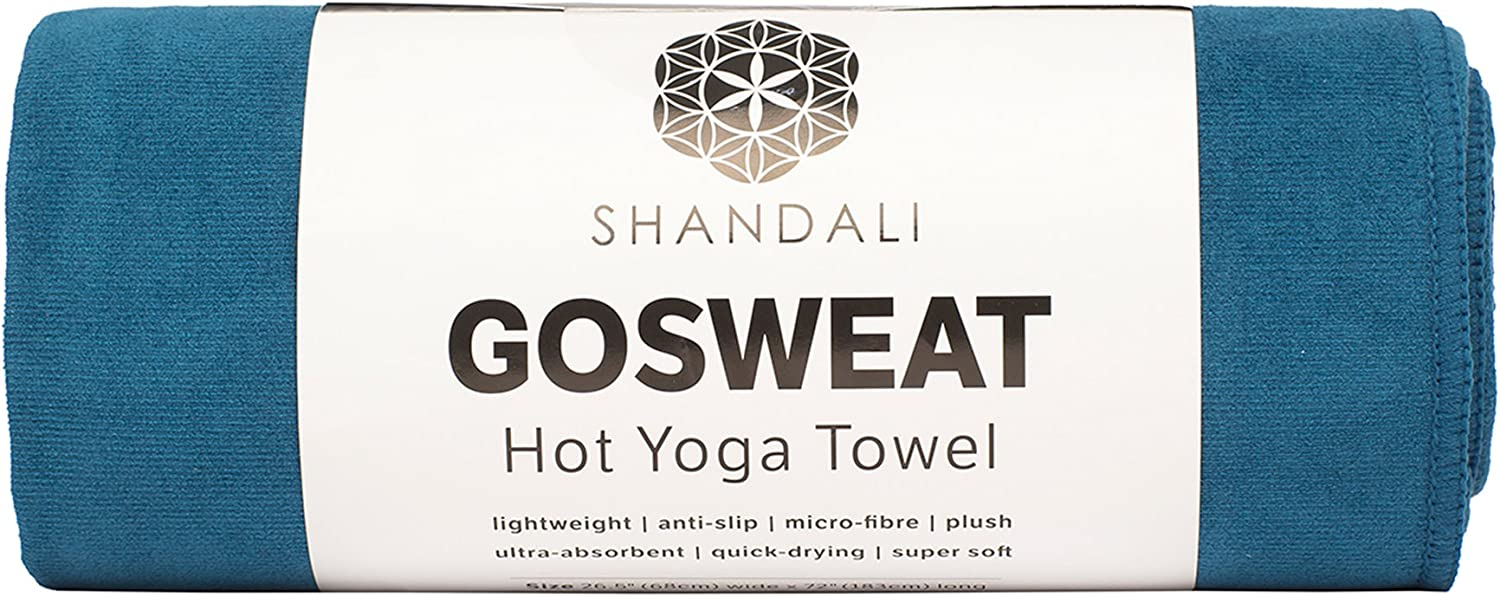 for Bikram Pilates and Yoga Mats. SHANDALI GoSweat Non-Slip Hot Yoga Towel with Super-Absorbent Soft Suede Microfiber in Many Colors