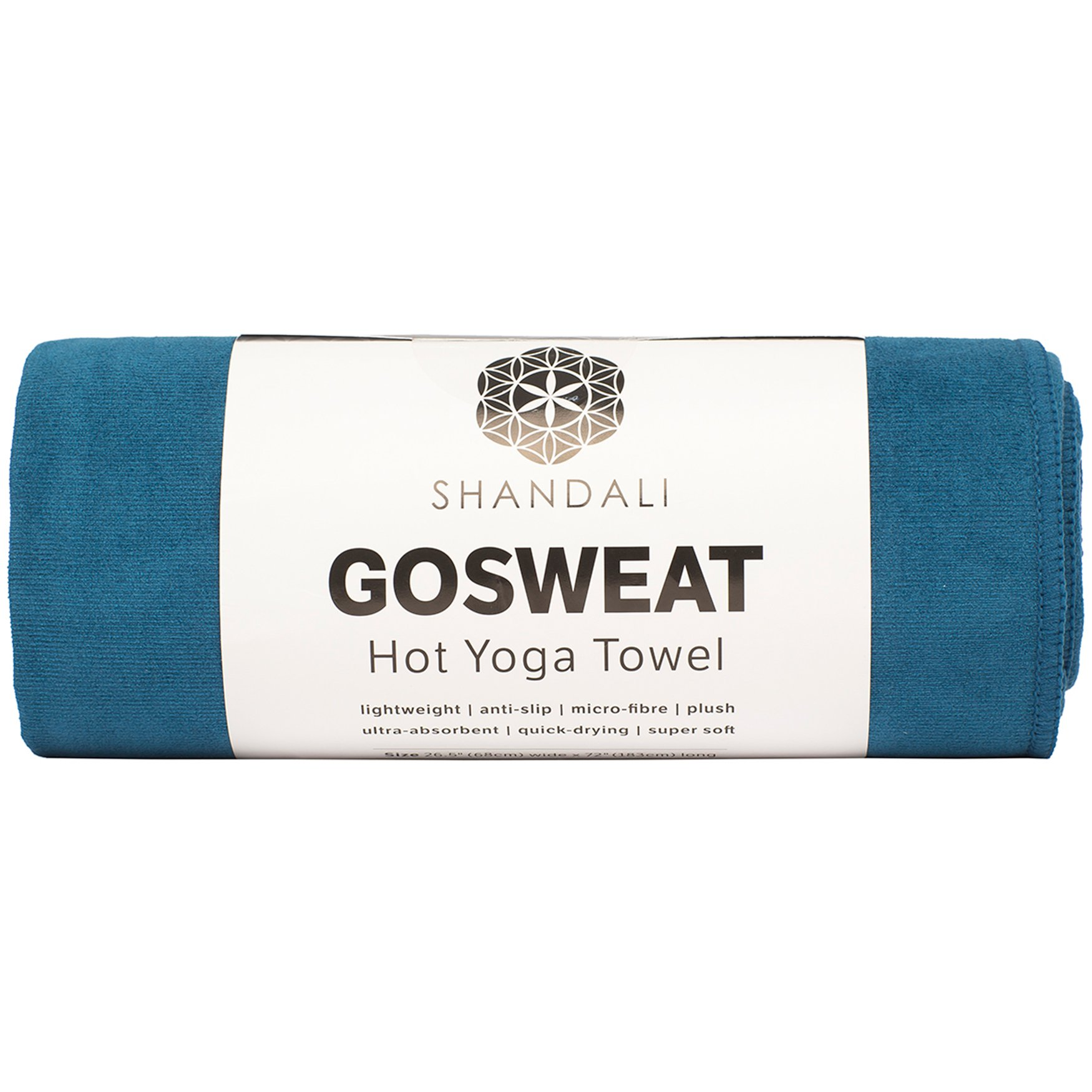 Shandali Hot Yoga GoSweat Microfiber Hand Towel in Super Absorbent Premium Evening Blue Suede for Bikram, Pilates, Gym, and Outdoor Sports. 16 x 26.5 inches. by Shandali
