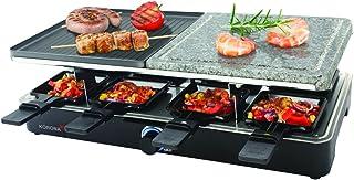 Korona 45051 Raclette Grill für 8 Personen – Tischgrill mit 8 Pfännchen und 8 Spatel – antihaftbeschichtete Grillplatte - Grillstein