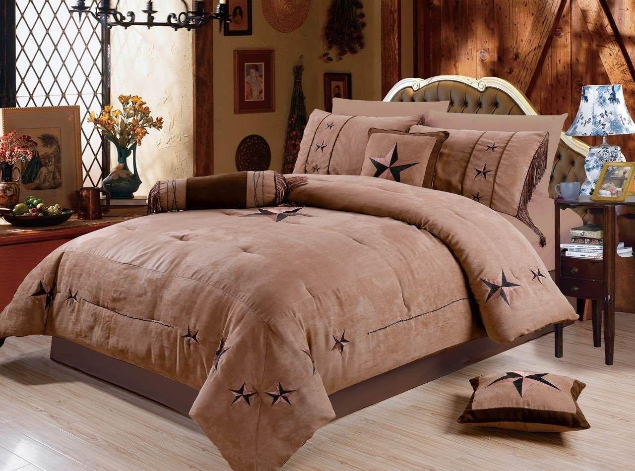 Rustic 7 Piece Luxury Beautiful Embroidery Western Texas Lone Star Lodge Oversize Micro Suede Comforter Set Light Dark Brown Bedding Set (King)