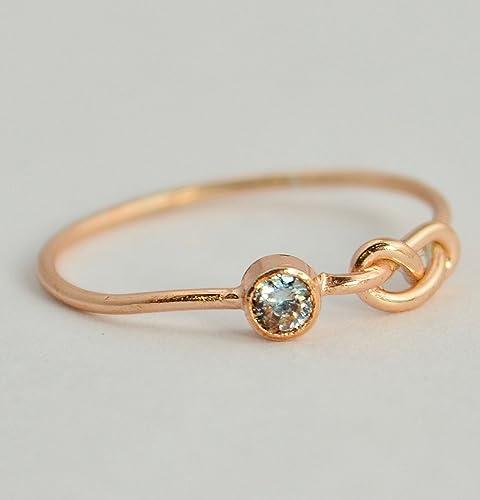 Amazon 14k Rose Gold Aquamarine Infinity Ring Handmade