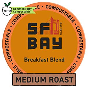 SF Bay Coffee Breakfast Blend 12 Ct Medium Roast Compostable Coffee Pods, K Cup Compatible including Keurig 2.0 (Packaging May Vary)