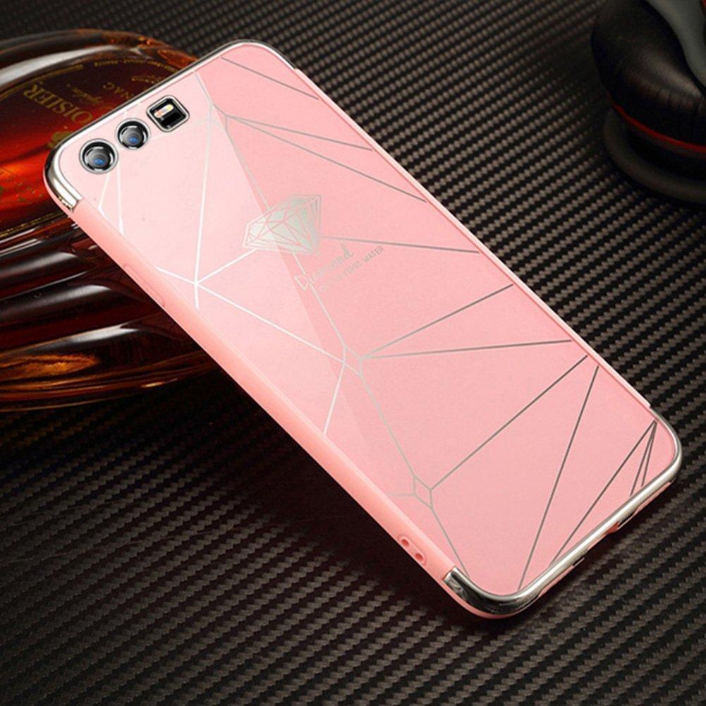 Placca specchietto Cover Huawei honor 9, custodia protettiva a specchio per Huawei honor 9, guscio in gel di silicone Ysimee paraurti antiurto per Huawei honor 9 -nero diamante