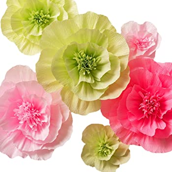 Amazon lings moment crepe paper flowers 8 x large paper paper flower decorations large crepe paper flowers handcrafted flowers giant paper flowers green pink set of 6 for wedding backdrop nursery wall mightylinksfo