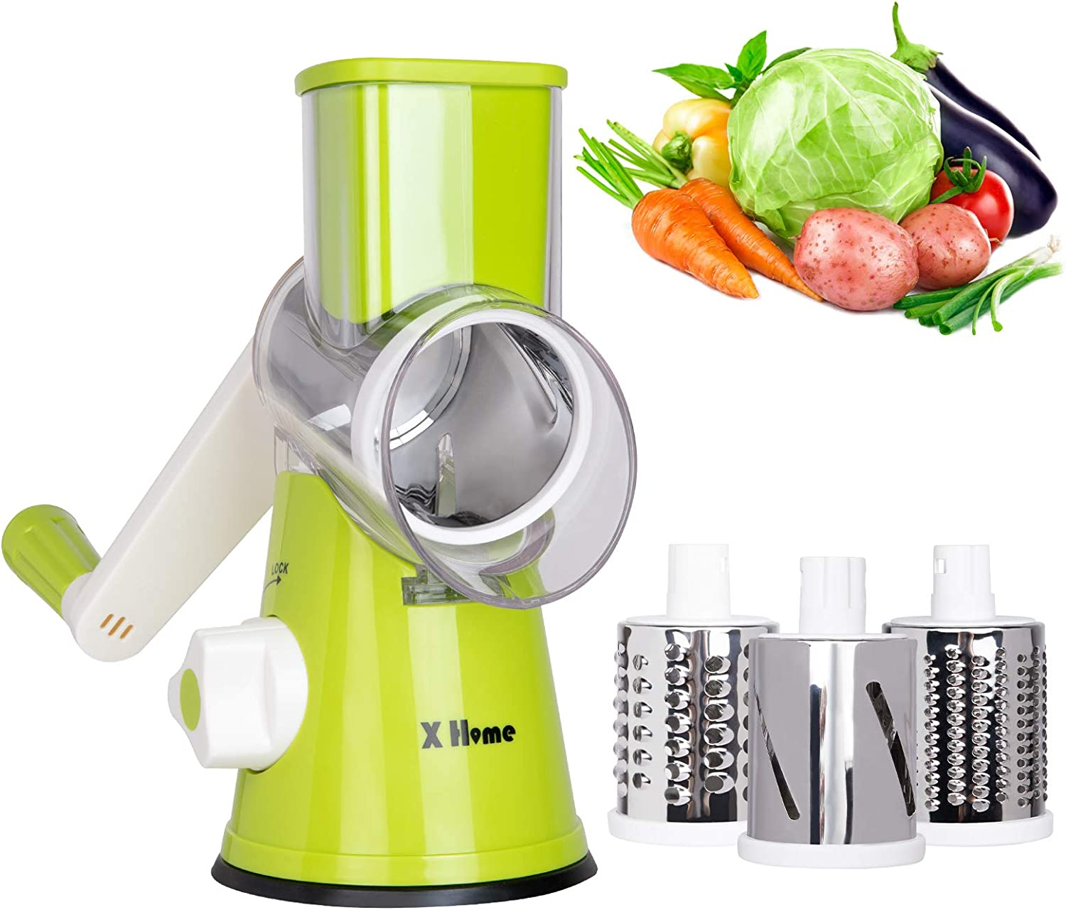 X Home Rotary Cheese Grater Shredder - 3 Drum Blades Manual Vegetable Slicer Nut Grinder with Strong Suction Base, Easy to Clean (Green)