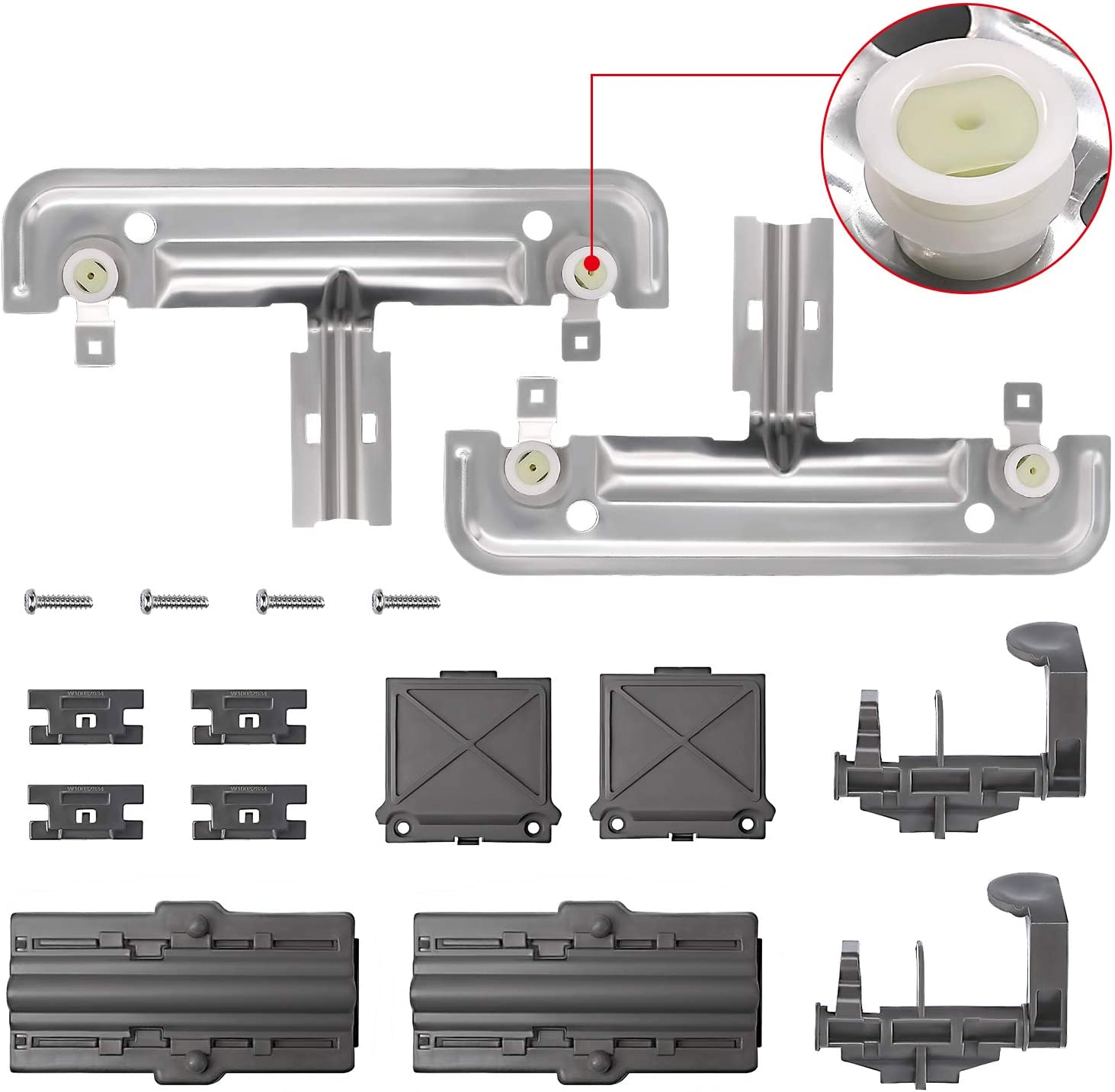 Primeswift W10712394 Dishwasher Dish Rack Adjuster Kit Replacement for Kenmore Whirlpool W10238418 W10253546 W10350376