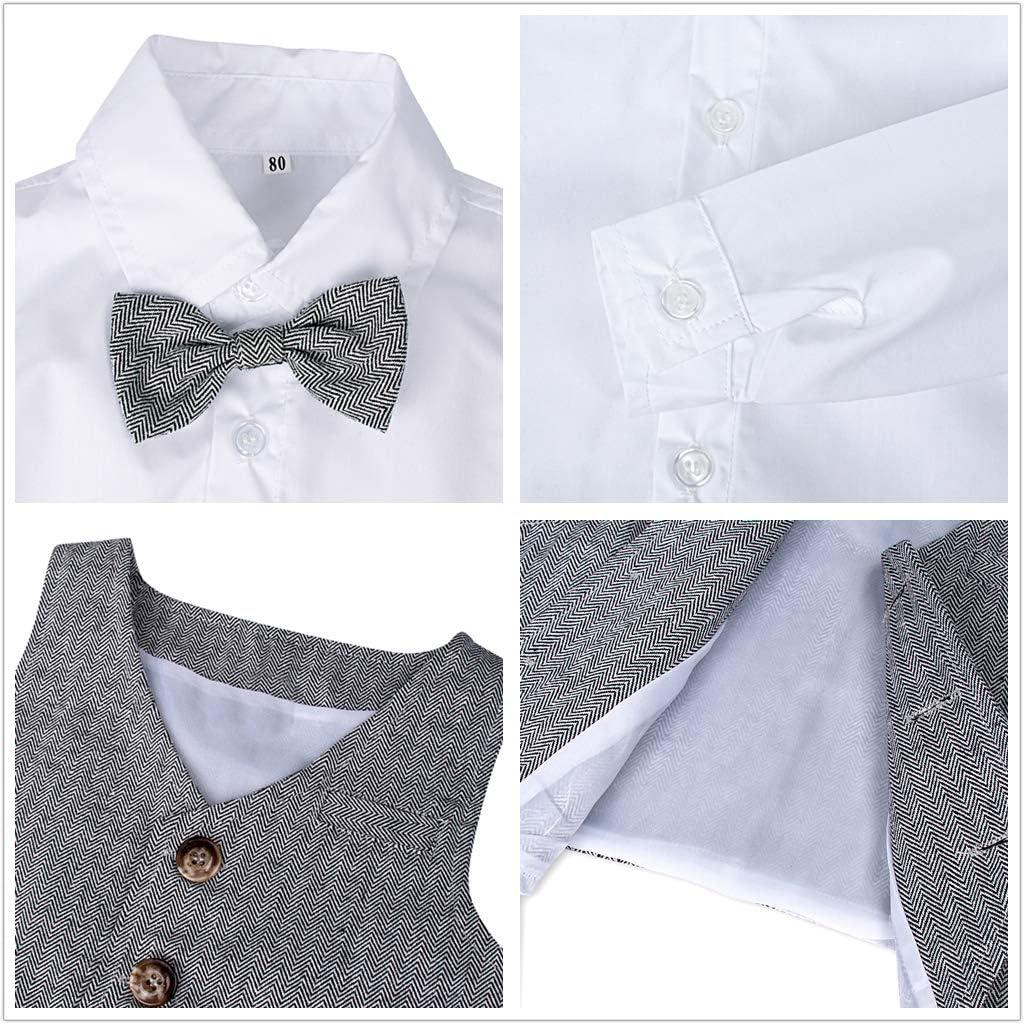 mintgreen Conjunto de Camisa Manga Larga para Beb/é Ni/ños con Chaleco Pajarita Caballero 1-4 A/ños Tama/ño Trajes de 3 Piezas