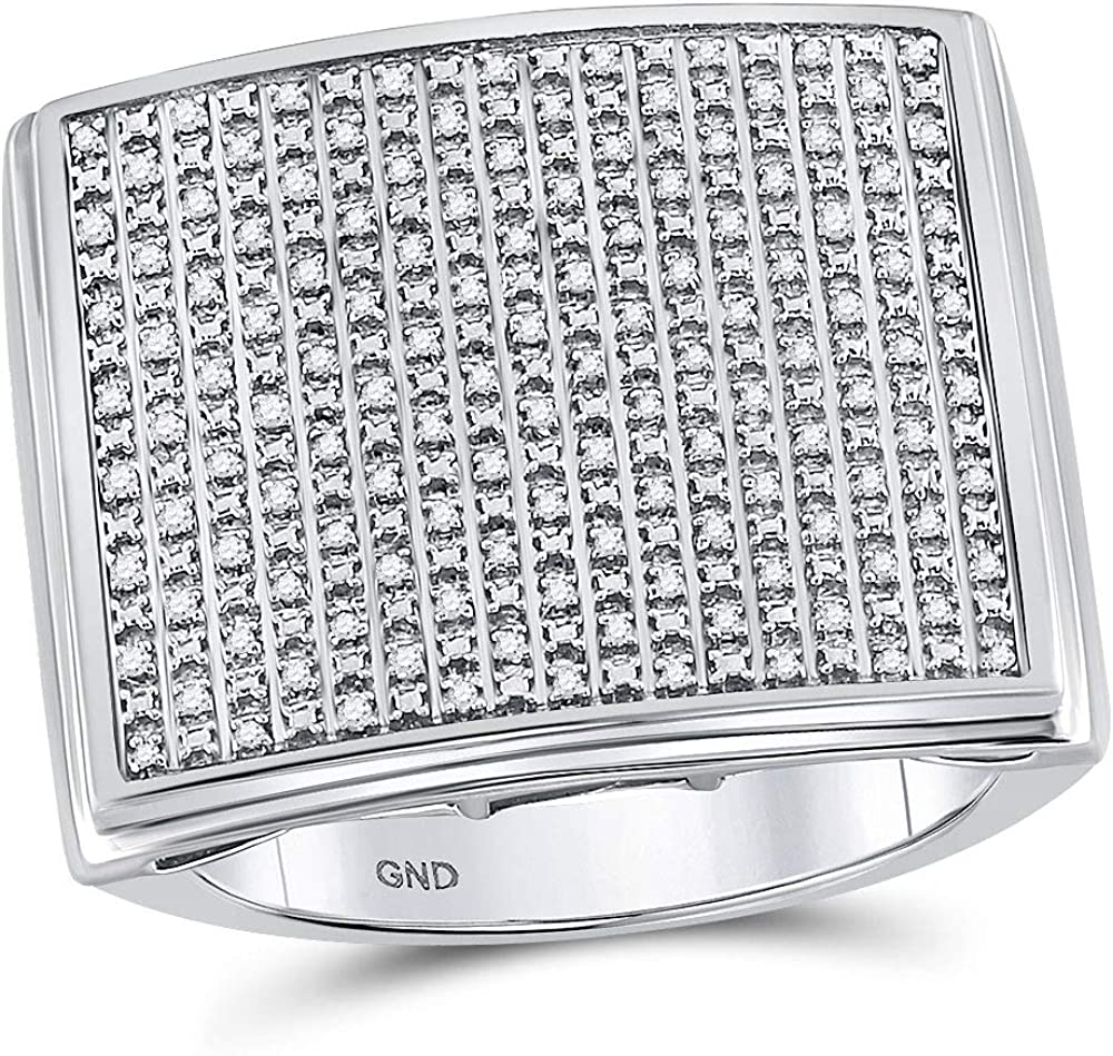 Sterling Silver Mens Round Diamond Large Square Cluster Fashion Ring 3//8 Cttw
