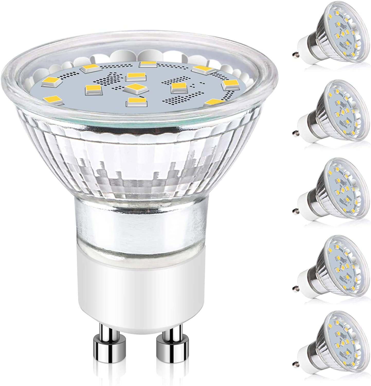 Ascher GU10 LED Bulbs, 50W Halogen Bulbs Equivalent, 4W, 400 Lumens, Non-Dimmable, 5000K Daylight White,120° Beam Angle, MR16 LED Light Bulbs, GU10 Base, Pack of 5