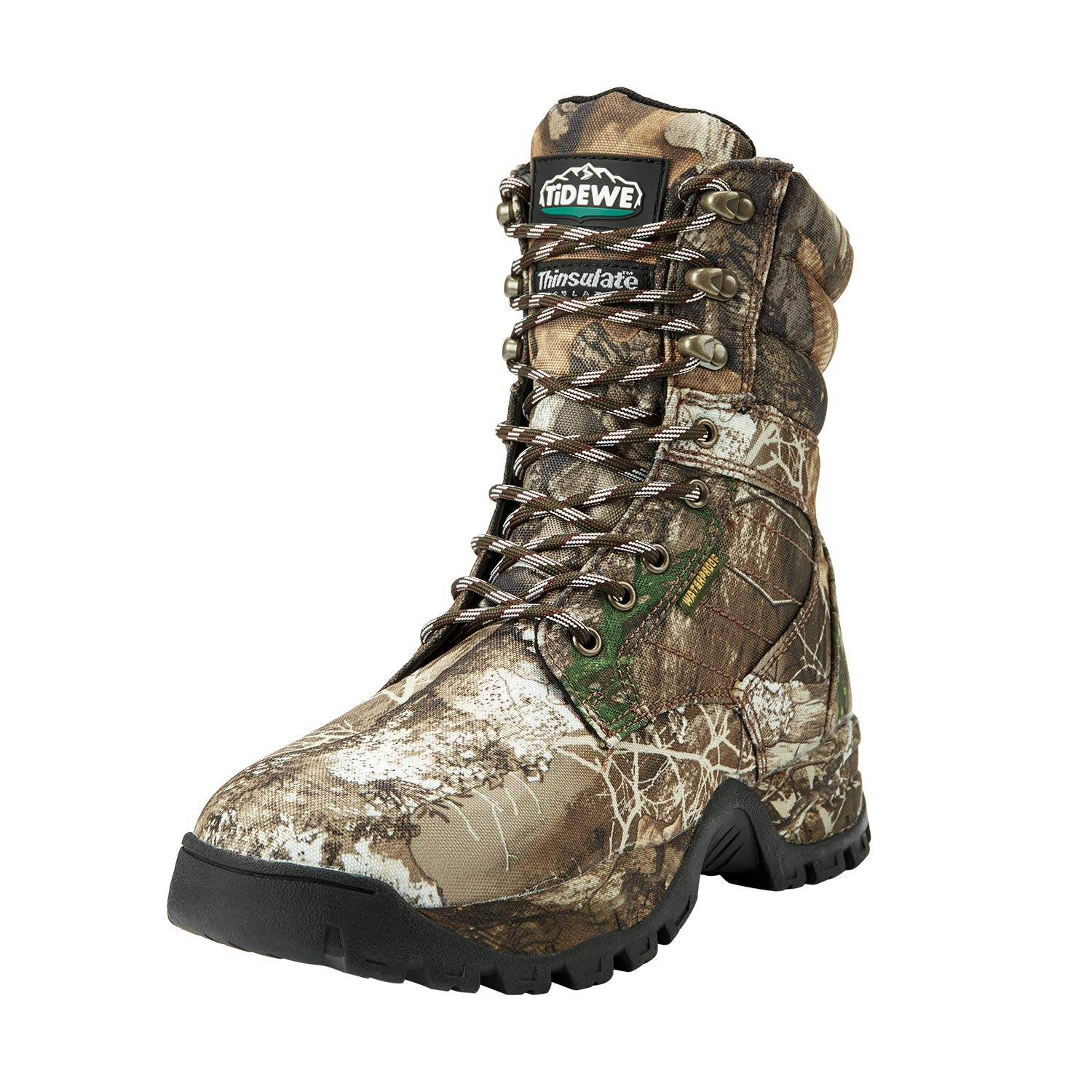 TideWe Hunting Boot for Men, Insulated 400G 8'' Hunting Boot, Breathable Mid-Rise Outdoor Hiking Boot, Realtree Camo Edge (Size 8)