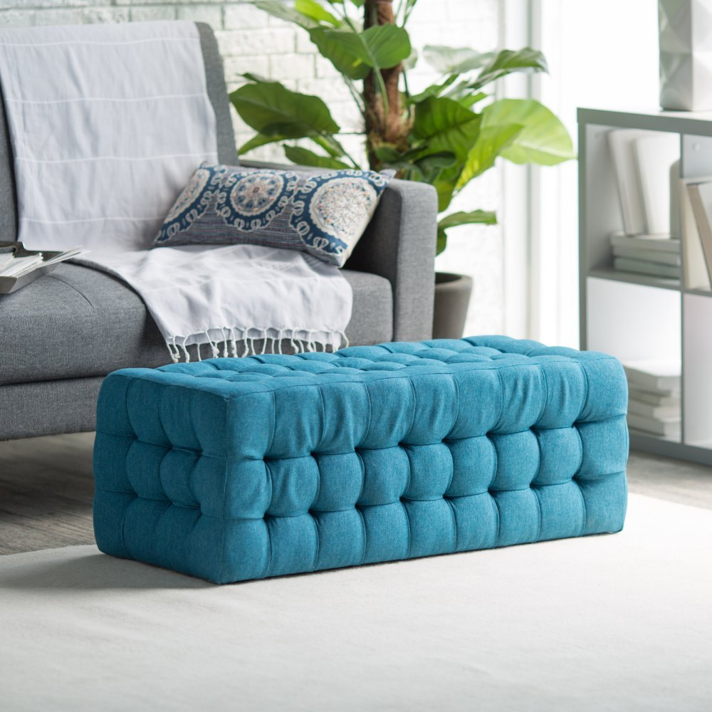 Amazon.com: Belham Living Allover Tufted Rectangle Ottoman   Teal: Kitchen  U0026 Dining