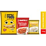 Weikfield Fusilli Pasta Combo Pack, 500g with Free Red Pasta Sauce, 200g and White Pasta Sauce, 25g