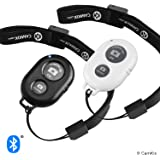 CamKix Camera Shutter Remote Control with Bluetooth Wireless Technology - Capture Pictures/Video Wirelessly at 30 Ft Compatible with iPhone/Android - Wrist Strap 2 Pack - Black & White