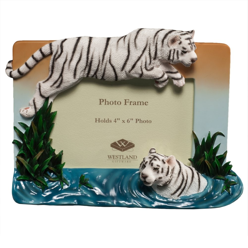WHITE TIGER 'Leap of Faith' special relief frame - 4x6 by Westland Giftware