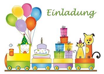 10 Einladungskarten Zum Kindergeburtstag Geburtstagszug Fur
