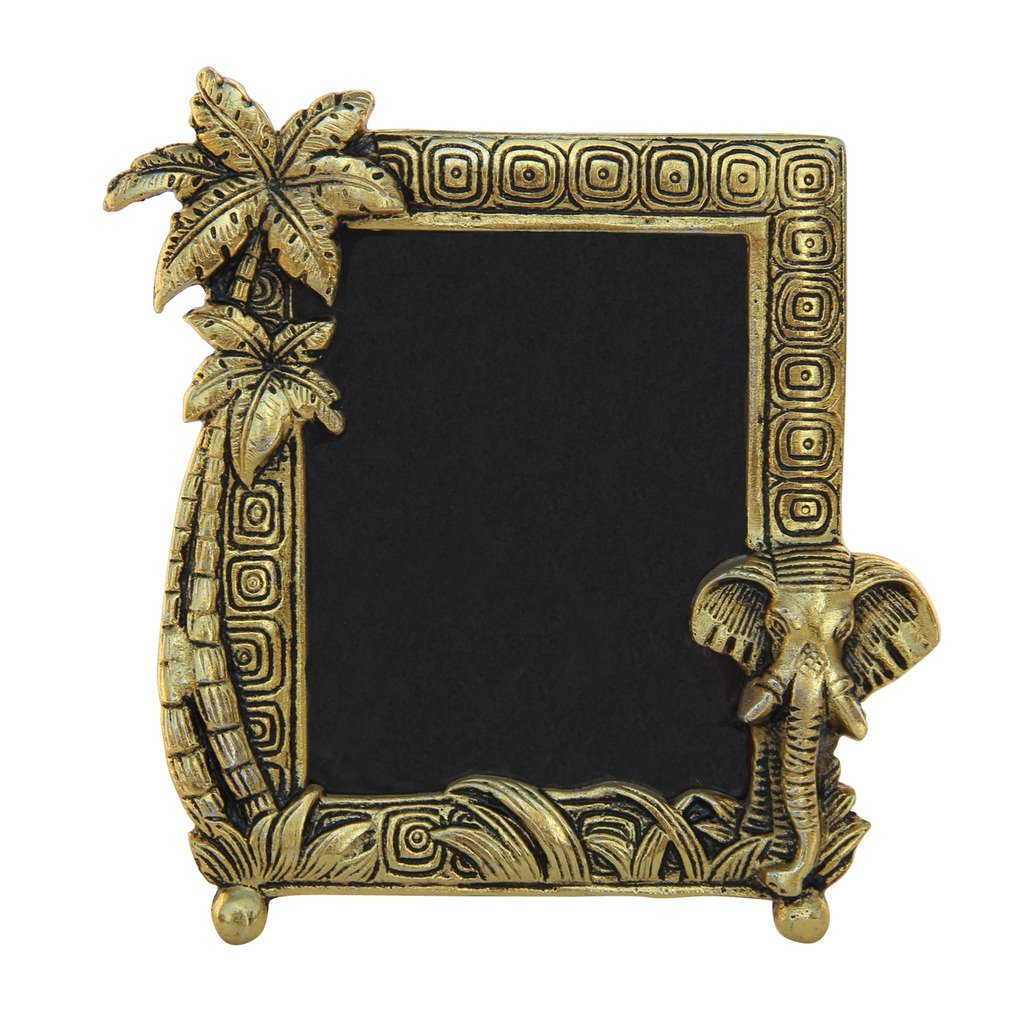 HANDICRAFTS PARADISE Photo Frame Antique Golden with Elephant Face