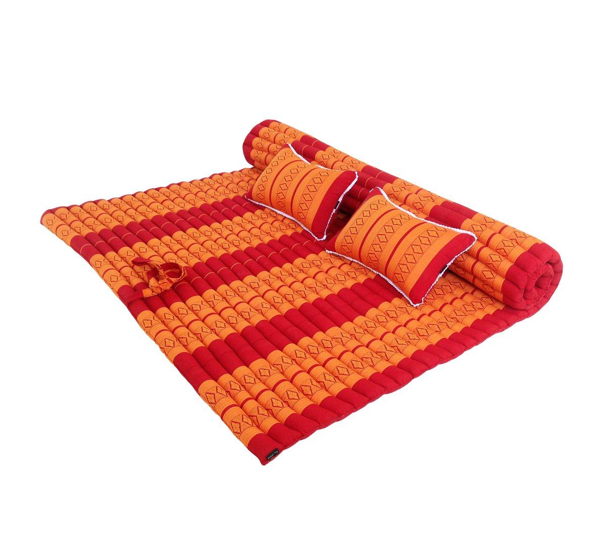 Futón tradicional tailandés enrollable, tamaño doble XXL con 2 cojines a juego para masaje, yoga, meditación o relajarse: Amazon.es: Hogar