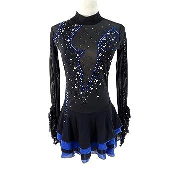 Heart&M Vestido de patinaje artístico Vestido de patinaje sobre hielo para mujer y niña Vestido de