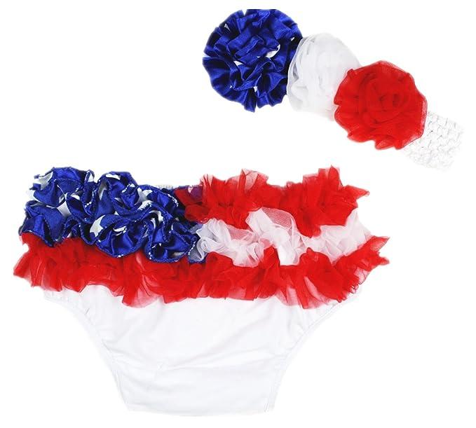 cc272901d3b9 Amazon.com  4th July USA Baby RWB Ruffles Cotton Bloomer Headband ...