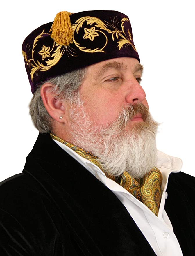 Steampunk Hats | Top Hats | Bowler Historical Emporium Mens Deluxe Velvet Embroidered Smoking Cap $49.95 AT vintagedancer.com
