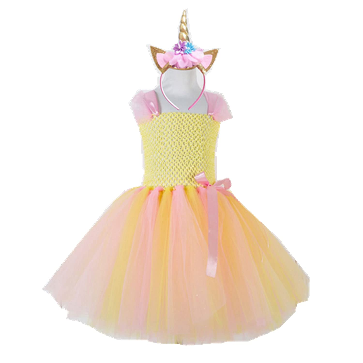 Elegant Colorful Flowers Girls Birthday Party Dresses Children Kids Pony Unicorn Tutu Costume Summer Girl
