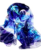 JOYJULY Starry Sky Galaxy Star Space Printing Chiffon Long Wrap Scarves with Gift Box