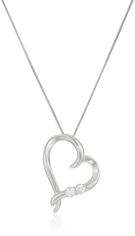 "14k White Gold 1/5ctw Two Stone Diamond Heart Pendant Necklace, 18"""