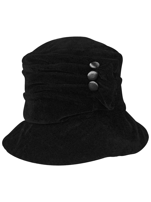 8ce070ffa08 Luxury Divas Black Velvet Bucket Hat With Button Trim at Amazon Women s  Clothing store