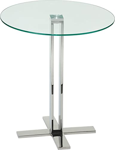 Cortesi Home Solen Round Clear Glass End Table with Chrome Base