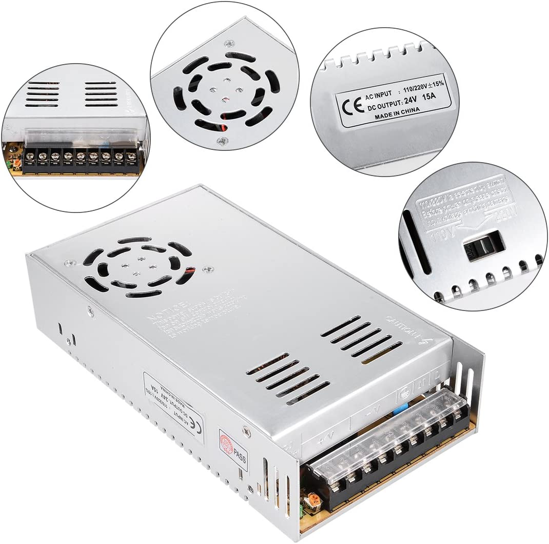 uxcell AC 110//220V to DC 24V 15A 360W Switching Power Supply Driver for LED Strip