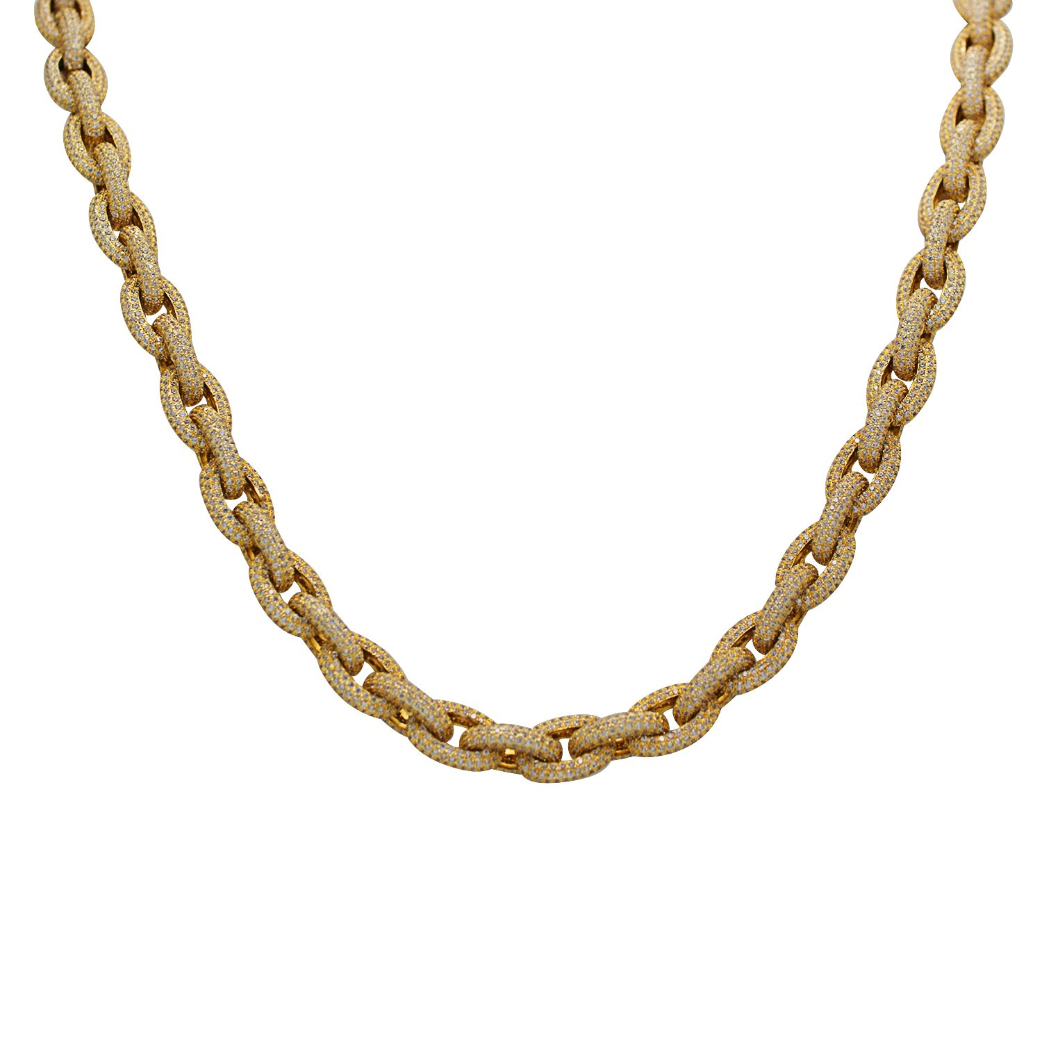 925 Sterling Silver Yellow Gold-Tone Full Iced Out Bling CZ Cubic Zirconia Open Link Necklace Chain 30''