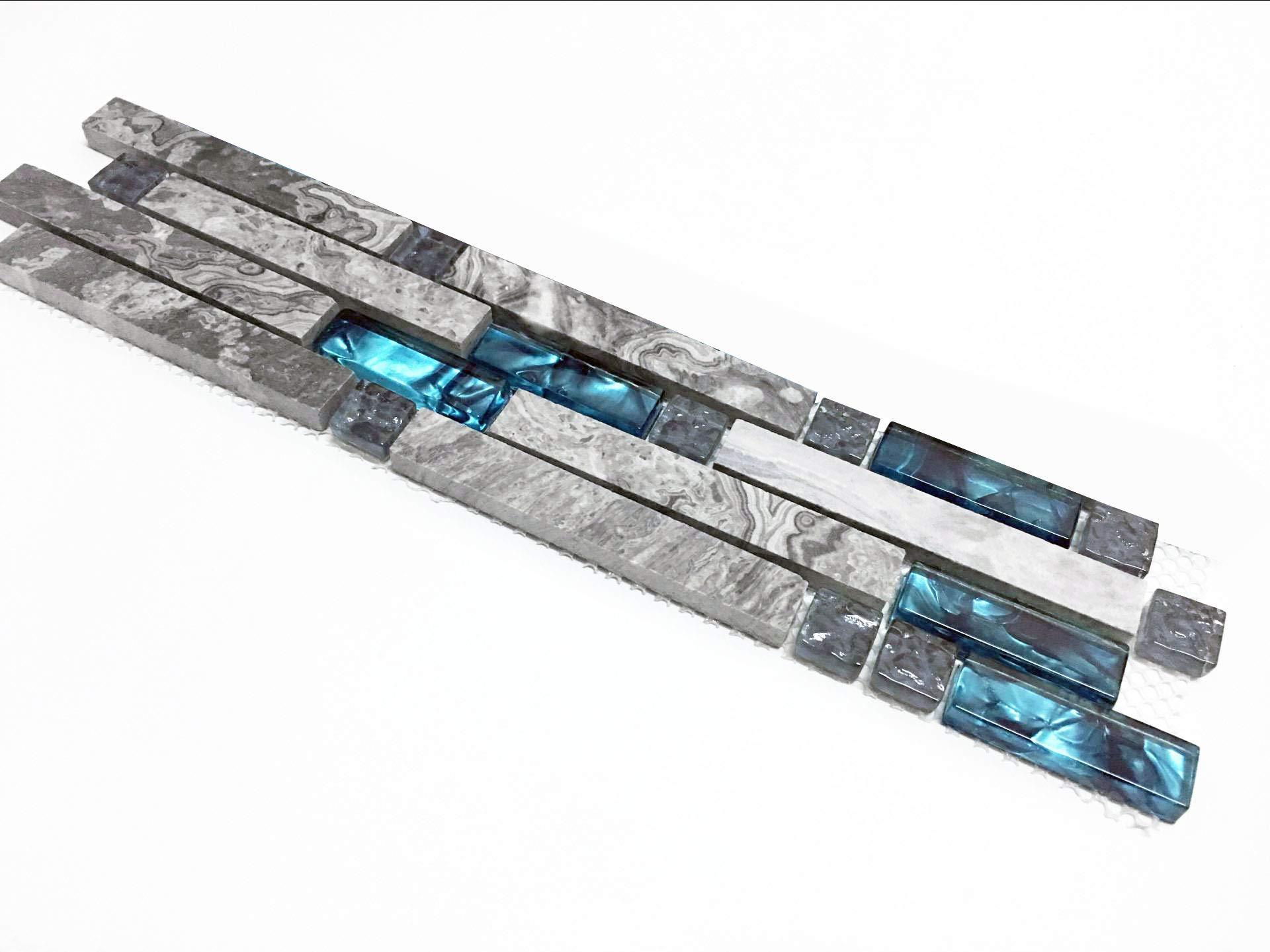 Hominter Tile Sample 3 x 12 Inches: Gray Marble Backsplash Tile, Teal Blue Glass Strip Interlocking Patterns - Bathroom, Kitchen, Shower, Accent Wall 9805 by Hominter (Image #1)