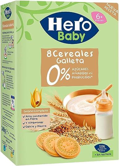 Hero Baby Papilla 8 Cereales Con Galleta Maria Sin Consevantes ni Azúcares Añadidos para Bebés Pack de 3 x 500 g: Amazon.es: Alimentación y bebidas