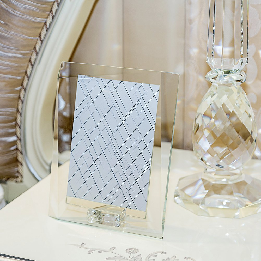 DONOUCLS Crystal Glass Picture Frame with Gift Boxed 4 x 6 Christmas Decorations for Home Wedding Gift