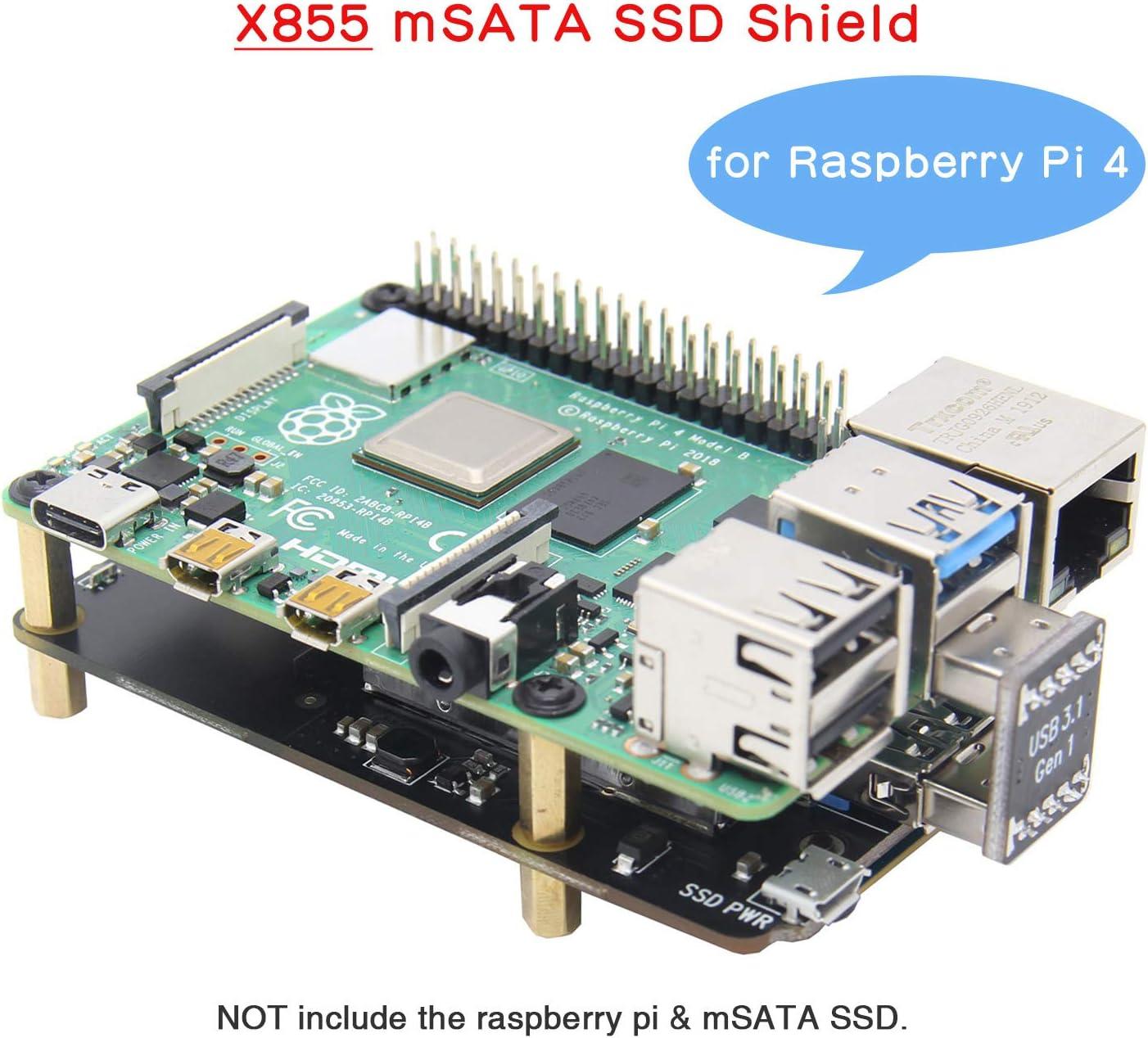 Geekworm Raspberry Pi 4 mSATA Placa Raspberry Pi Modelo B X855 ...