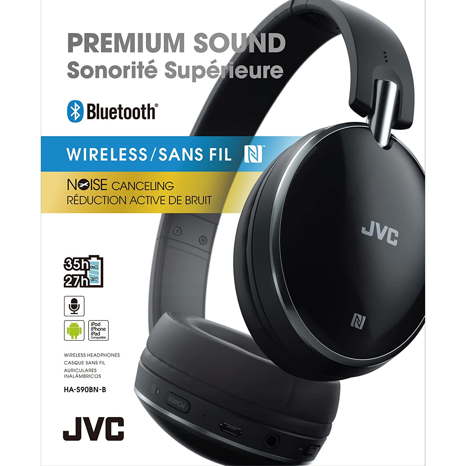 Amazon.com: JVC HA-S90BN Noise Cancelling On-Ear Bluetooth Headphones (Black) + Power Bank + Smartphone Sport Armband + Kit: JVC: Home Audio & Theater