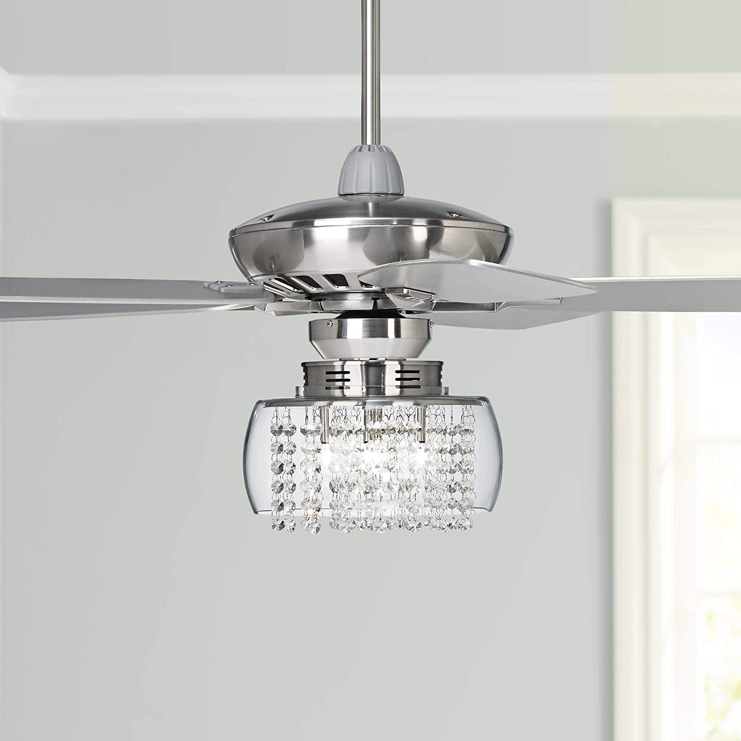 52 Journey Modern Ceiling Fan With Light Led Dimmable Remote Control Brushed Nickel Silver Blades Glass Drum Chrome Crystal For Living Room Kitchen Bedroom Family Dining Casa Vieja