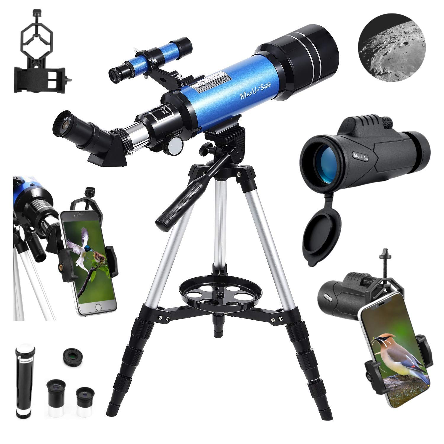 MaxUSee 70mm Refractor Telescope with Adjustable Tripod for Kids Adults & Beginners + Portable 10X42 HD Monocular Bak4 Prism FMC Lens, Travel Scope with Backpack and Phone Adapter by MaxUSee