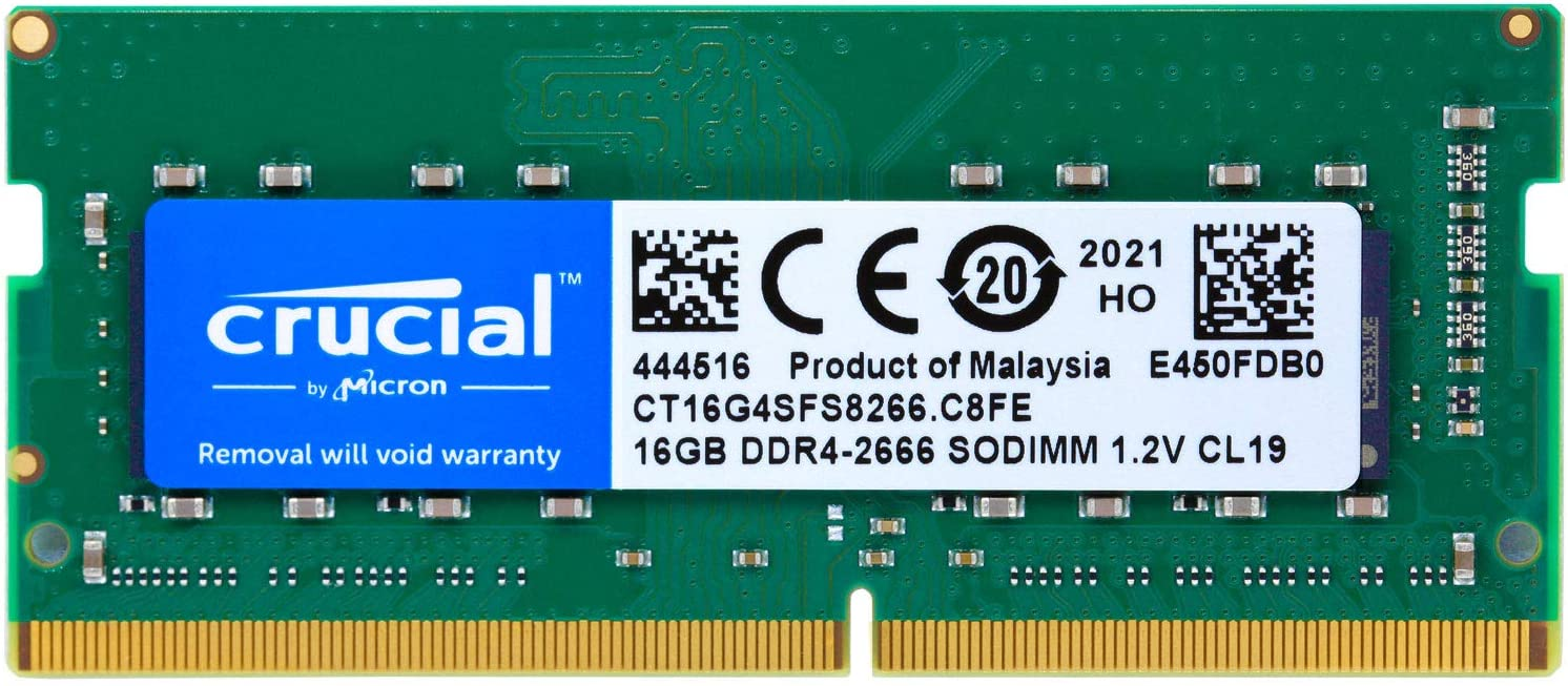 Crucial 16GB DDR4 SDRAM Memory Module - for Notebook - 16 GB - DDR4-2666/PC4-21300 DDR4 SDRAM - CL19-1.20 V - Non-ECC - Unbuffered - 260-pin - SoDIMM (CT16G4SFS8266)
