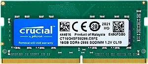 Crucial 16GB DDR4 SDRAM Memory Module - for Notebook - 16 GB - DDR4-2666/PC4-21300 DDR4 SDRAM - CL19-1.20 V - Non-ECC - Unbuffered - 260-pin - SoDIMM (CT16G4SFS8266)
