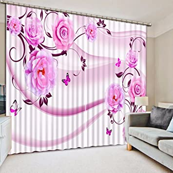 Amazon Com Wapel 3d Curtains For Living Room Flowers Kitchen 3d
