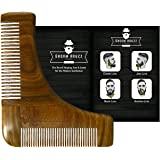 Sandalwood Beard Shaping Tool & Comb by Groom Houzz - Beards Shaper, Styling Template, Grooming Guide for Men - Facial Hair Trimmer for Jaw Line, Cheek, Neck & Goatee - Perfect Trimming Lines