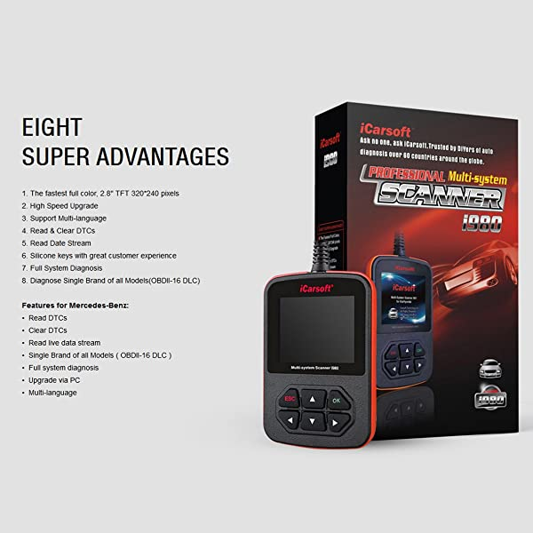 The i980 is an easy to use diagnostic tool that will have you scanning your vehicle within minutes