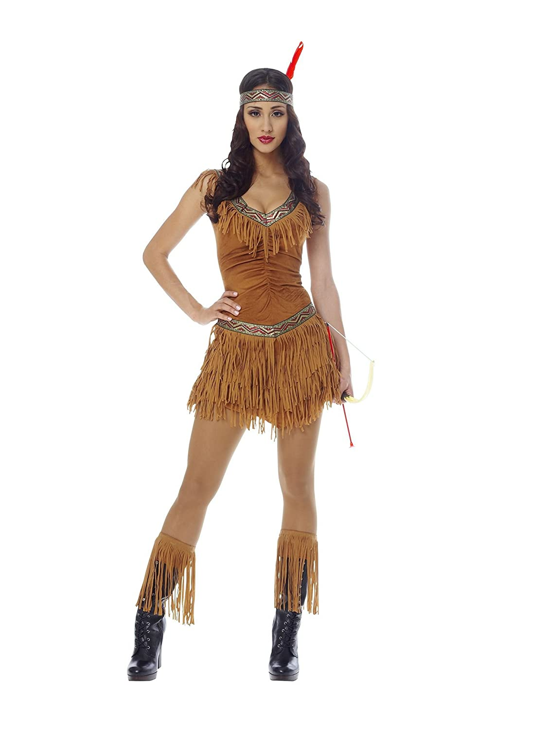 Size 10-18 Ladies Red Indian Fancy Dress Costume Native Squaw Pocahontas Womens